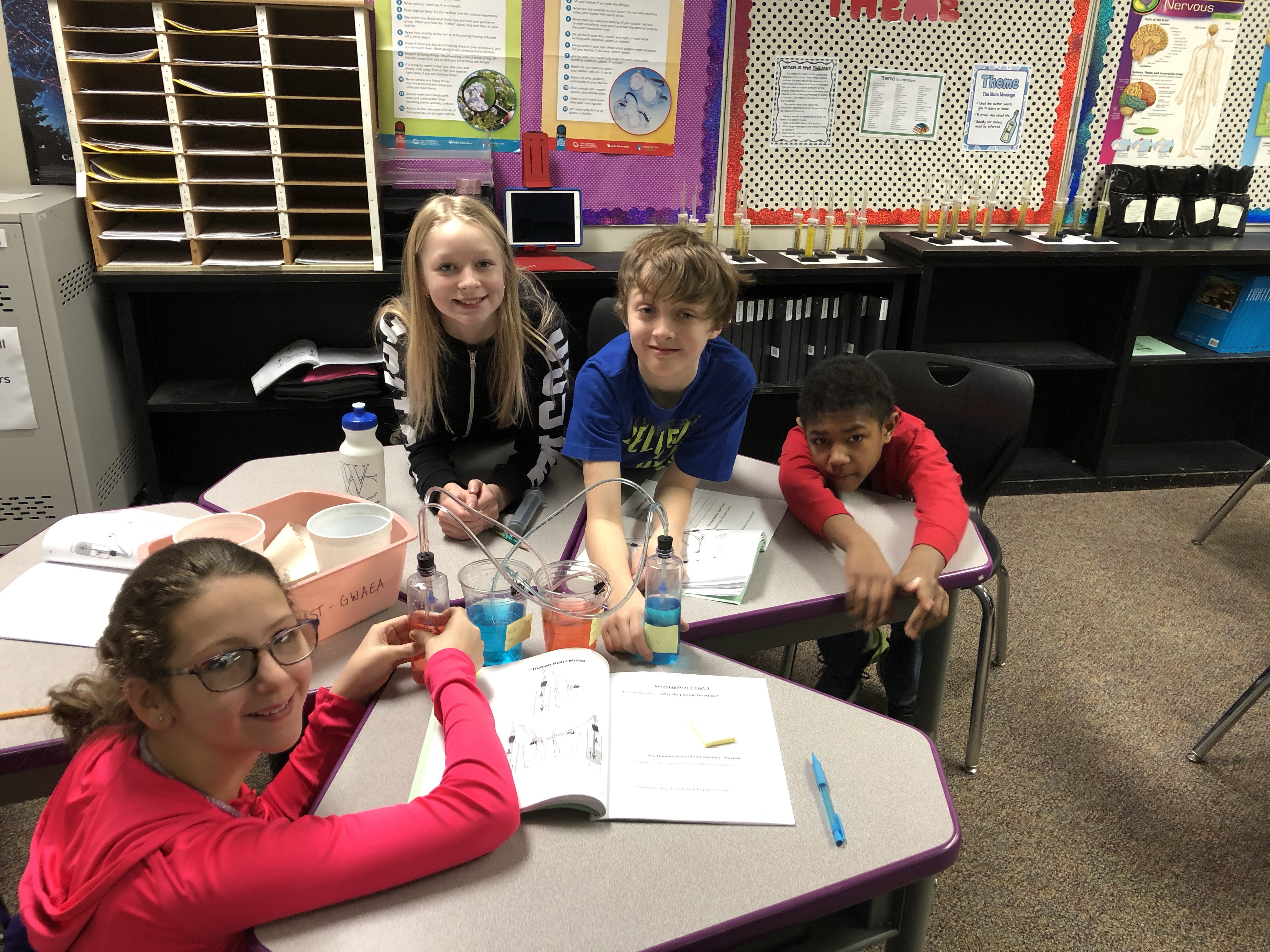 Fifth graders work together to create a heart model