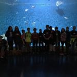 Students in front of very large aquarium tank