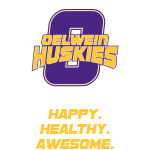 Oelwein Huskies happy healthy awesome logo