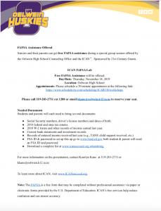 FAFSA Completion Event informational flyer