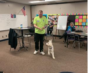 Instructor demonstrates comfort dog training