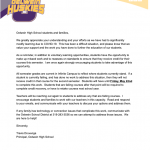 Letter to students and families