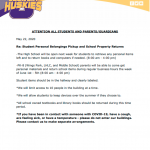 Letter regarding student personal belongings