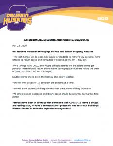 Letter regarding student personal belongings