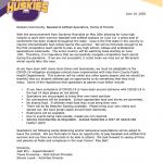 Baseball and softball update letter
