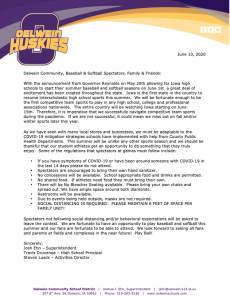 Baseball and softball update letter