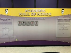 wall with academic awards