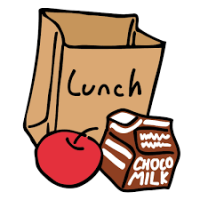 Bag lunch with apple and chocolate milk