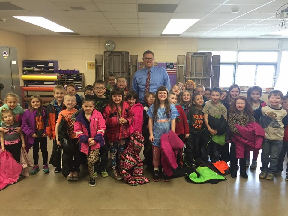 Mr. Ehn with elementary students